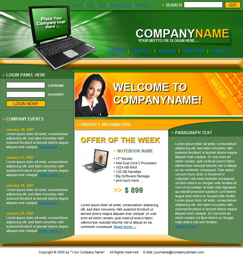 Template 4 is a sample that can be changed to give you an idea to get started building a website at Build Websites Cheap.
